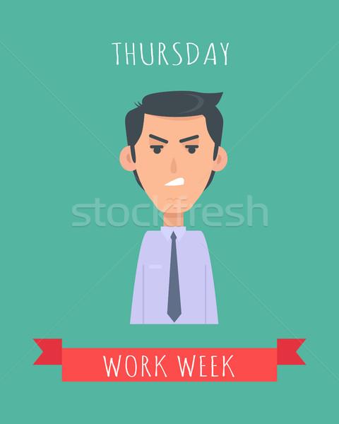 Work Week Emotive Vector Concept In Flat Design Stock photo © robuart