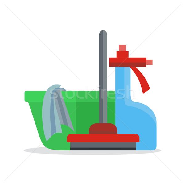 Banner bezem glas schonere schoonmaken dienst Stockfoto © robuart