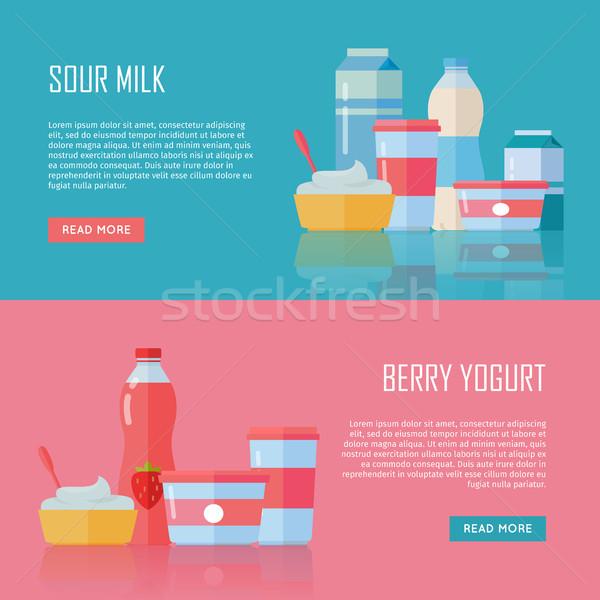 ミルク ベリー ヨーグルト バナー セット ストックフォト © robuart