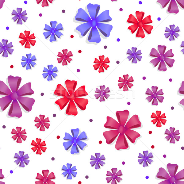 Flower Bows Seamless Pattern. Cute Bright Bowknots Stock photo © robuart