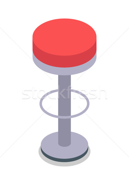 Stock photo: Bar Stool in Red Color Isolated. Flat Design.