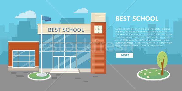High School Building Vector in Flat Style Design Stock photo © robuart