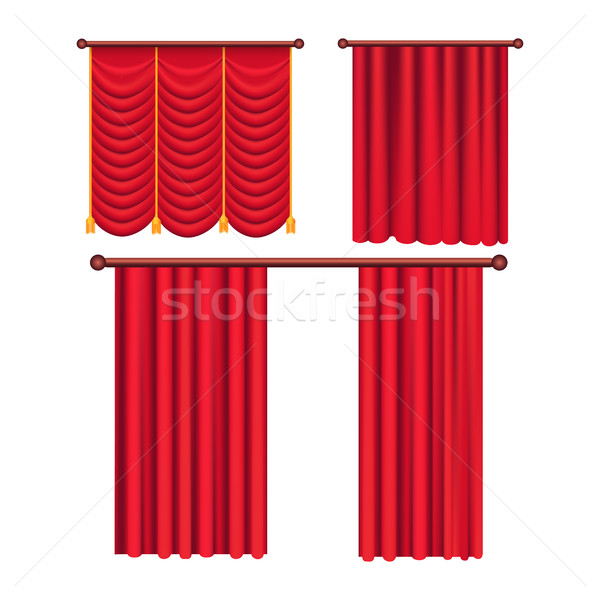Scarlet Pompous Curtains Collection on White. Stock photo © robuart