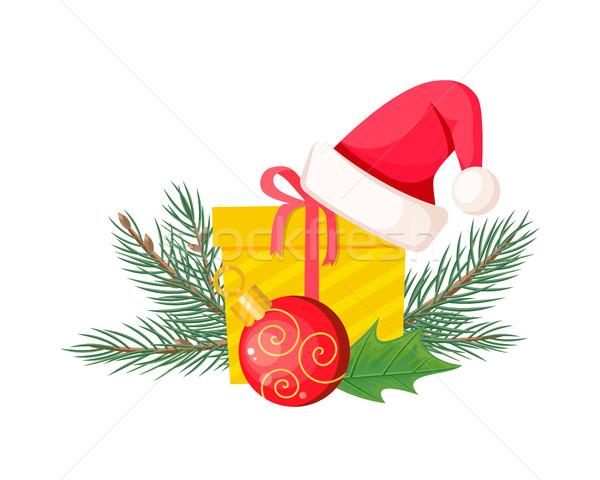 Seis sempre-viva árvore de natal papai noel amarelo Foto stock © robuart