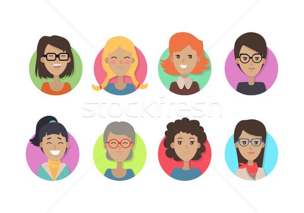 Kadın yüzü duygusal vektör simgeleri stil ayarlamak simgeler Stok fotoğraf © robuart