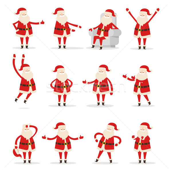 Different Santa's Movements on White Background Stock photo © robuart