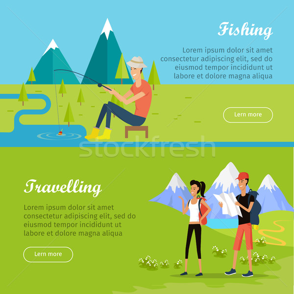 набор Летние каникулы вектора веб Баннеры люди Сток-фото © robuart