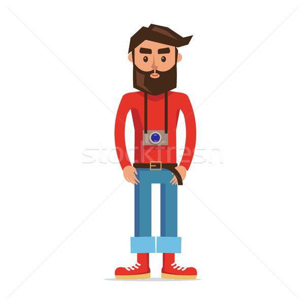 Stockfoto: Mannelijke · karakter · fotograaf · geïsoleerd · illustratie · cartoon