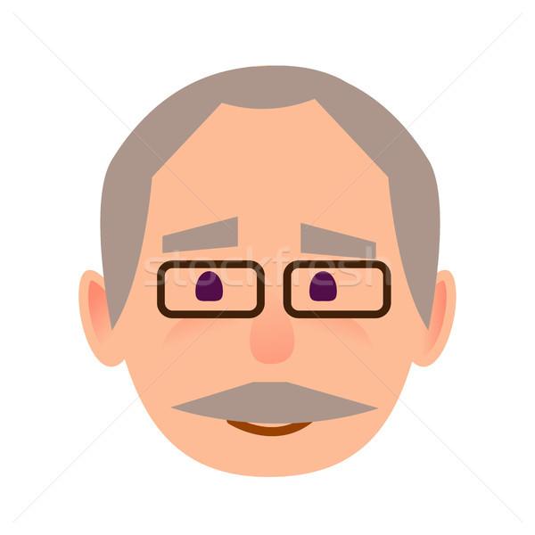 ポジティブ 歳の男性 眼鏡 顔 ベクトル アイコン ストックフォト © robuart