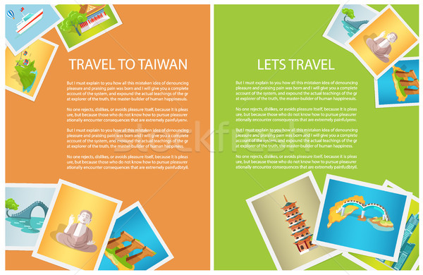 Two Vertical Cards Travel to Taiwan and Lets Go Stock photo © robuart