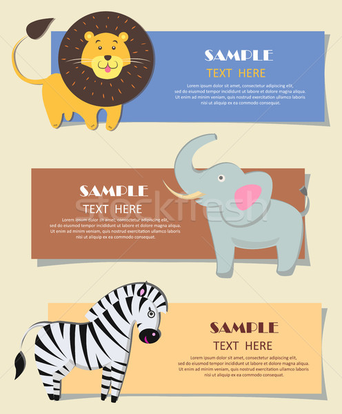 Three African Wild Animals Nursery Color Cards Stock photo © robuart