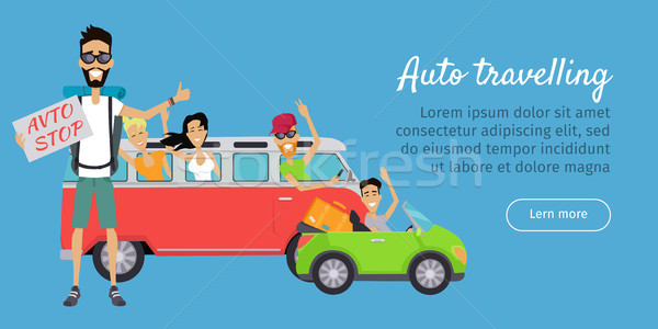 Auto Travelling Conceptual Banner. Autostop Stock photo © robuart