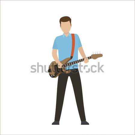 Erkek oynamak elektrik bas gitar Stok fotoğraf © robuart