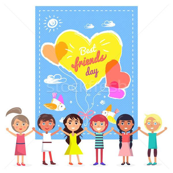 Legjobb barátok nap szalag barátságos gyerekek színes Stock fotó © robuart