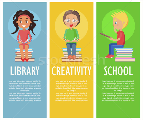 Library, Creativity and School with Reading Kids Stock photo © robuart