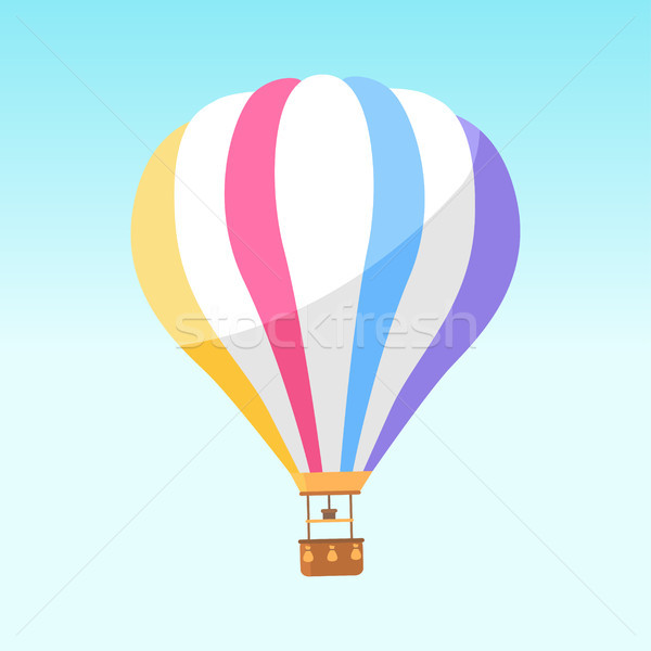 Airballoon with Colorful Stripes Icon Isolated Stock photo © robuart