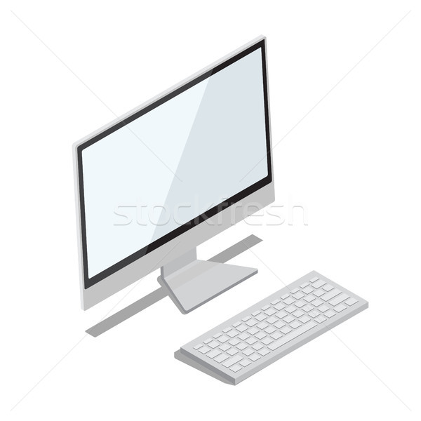 Modern Computer with Big Thin Monitor Illustration Stock photo © robuart