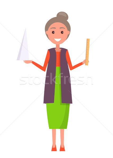 Geometry Teacher with Triangular Figure and Ruler Stock photo © robuart