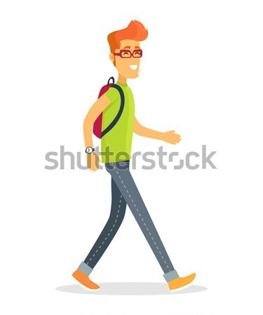 Pedestrian Tourist Icon Vector Illustration of Boy Stock photo © robuart