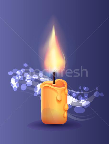 Stock foto: Brennen · Kerze · realistisch · Design · Vektor · Symbol