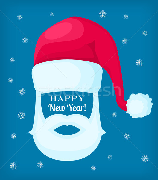 Happy new year cap blanche barbe moustache Photo stock © robuart