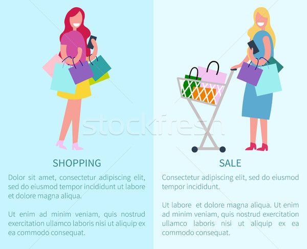 Stock photo: Shopping and Sale Set of Two Vector Illustration
