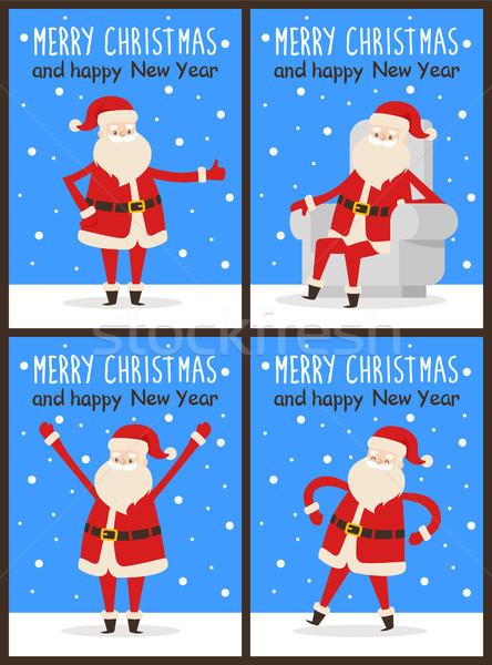 Wesoły christmas szczęśliwego nowego roku Święty mikołaj zestaw plakaty Zdjęcia stock © robuart