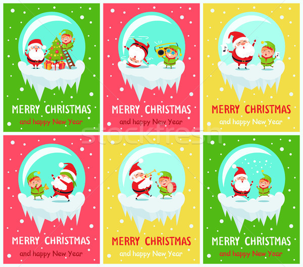 Merry Christmas Happy New Year Poster Santa Elf Stock photo © robuart