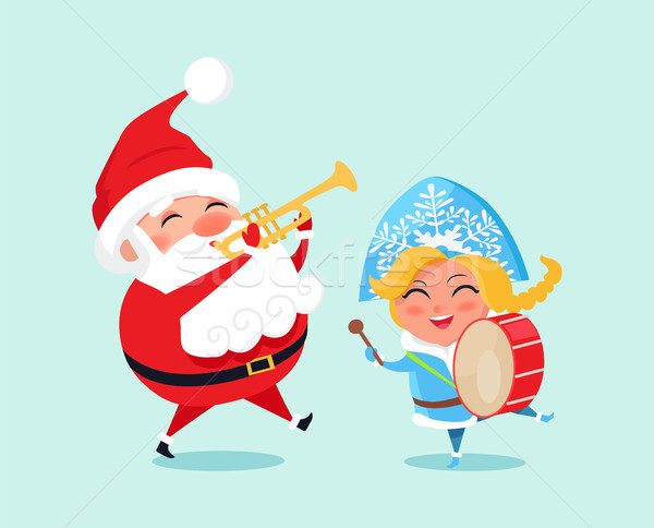 Happy Father Christmas Grand Daughter Play Music Stock photo © robuart