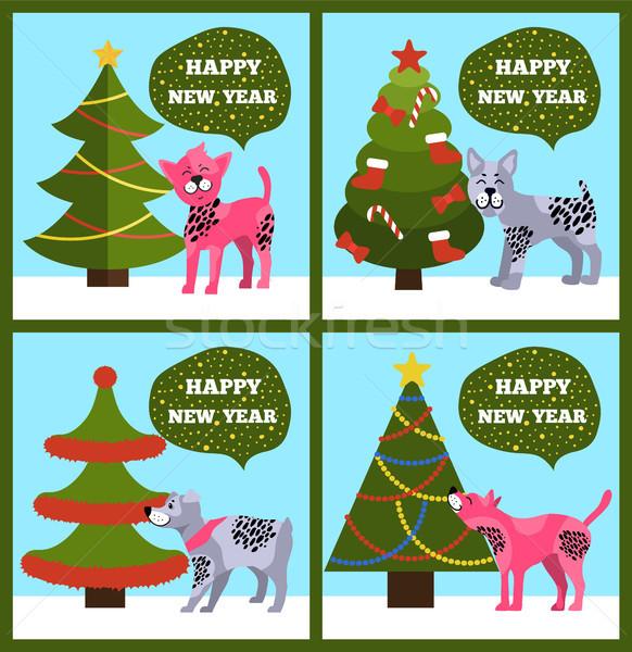 Stock fotó: Boldog · új · évet · bannerek · pontozott · kutyakölyök · fa · szett