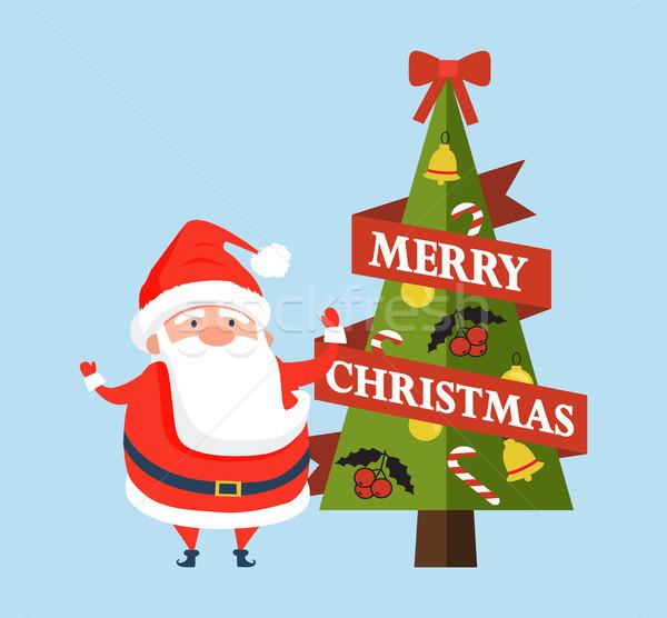 Stock photo: Merry Christmas Postcard with Cute Santa Claus
