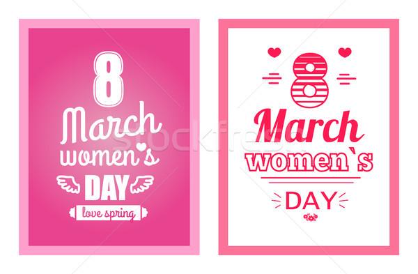 Женский день плакатов набор дизайна Сток-фото © robuart
