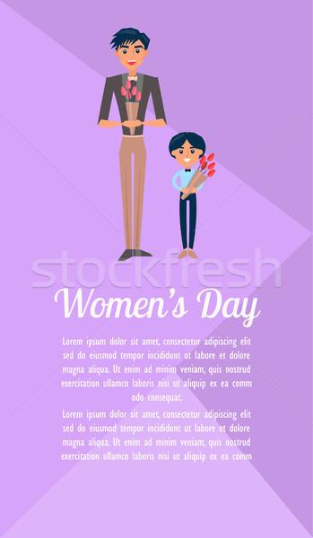 Día de la mujer anunciante hijo de padre ilustración padre pequeño Foto stock © robuart