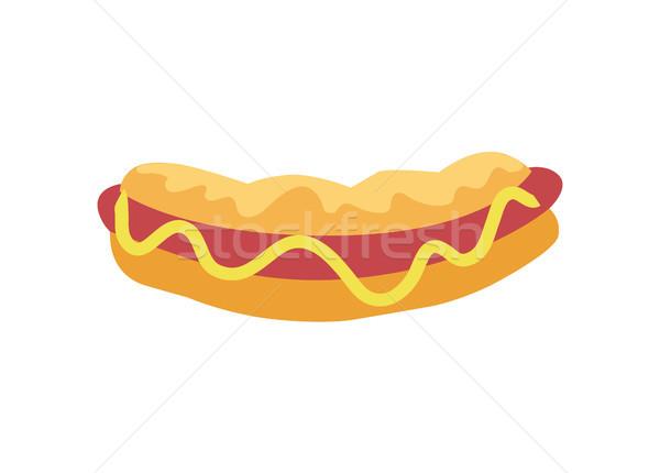 Hot Dog Street Food Poster Vector Illustration Stock photo © robuart