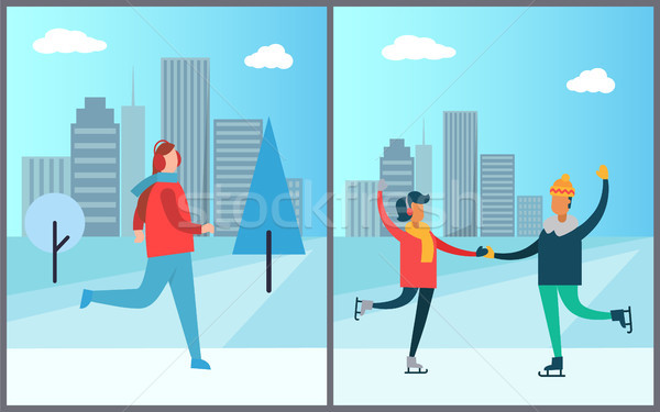 Jogger Running on Background of Skyscraper Couple Stock photo © robuart
