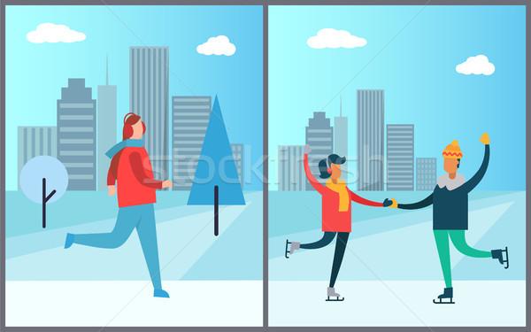 Jogger courir gratte-ciel couple gratte-ciel heureux Photo stock © robuart