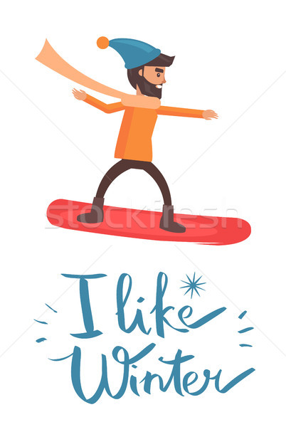 Wie Winter Snowboarder Plakat Schneeflocke tragen Stock foto © robuart