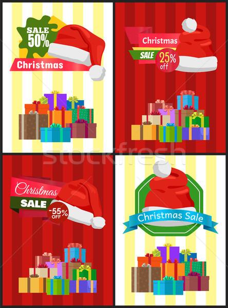 Karácsony vásár poszter ajándék promo címke Stock fotó © robuart