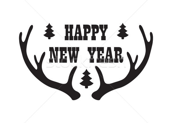 Happy New Year Inscription with Reindeer Horn Icon Stock photo © robuart