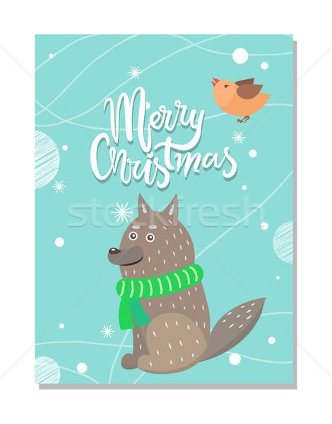 Wesoły christmas kartkę z życzeniami wilk ptaków szary Zdjęcia stock © robuart