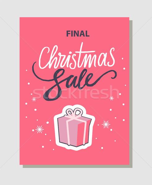 окончательный Рождества продажи розовый баннер вверх Сток-фото © robuart