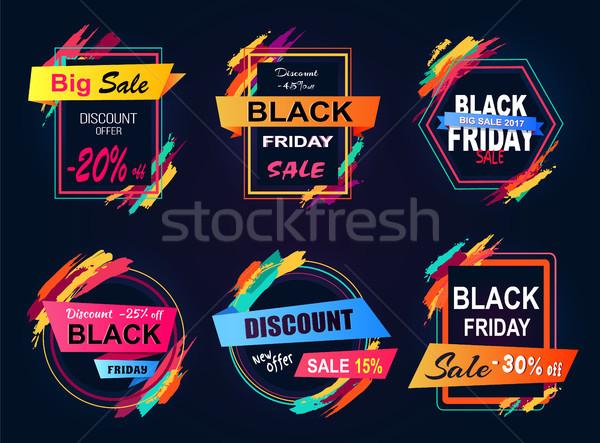 Big Sale Black Friday Stickers Vector Illustration Stock photo © robuart