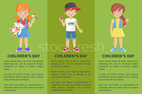 Childrens Day Web Banner with Playful Boy and Girl Stock photo © robuart