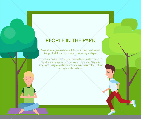 People in Park Poster and Form Vector Illustration Stock photo © robuart