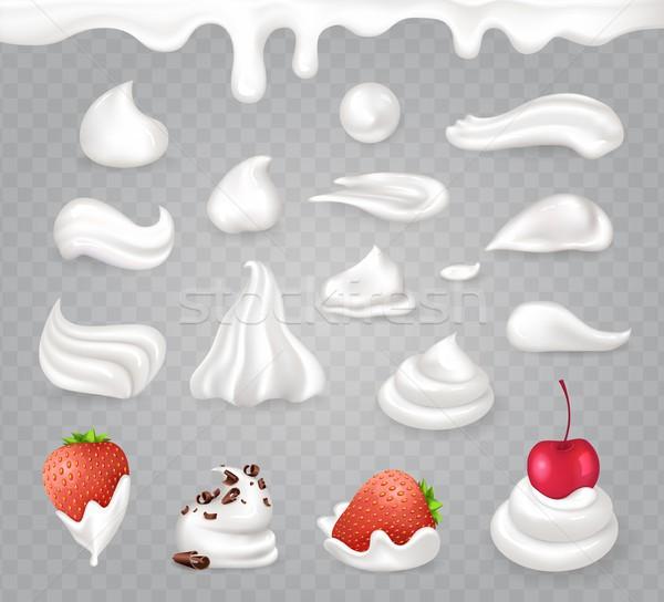 Panna montata dolce frutti cioccolato fondente gustoso fragola Foto d'archivio © robuart