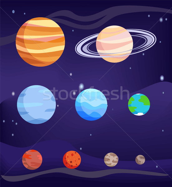 Planet Set of Bodies Poster Vector Illustration Stock photo © robuart