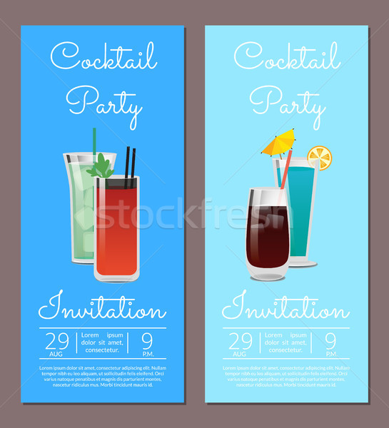 Cocktail party uitnodiging banner dranken bril vector Stockfoto © robuart