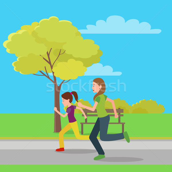 Running Mom and Doughter Color Vector Illustration Stock photo © robuart