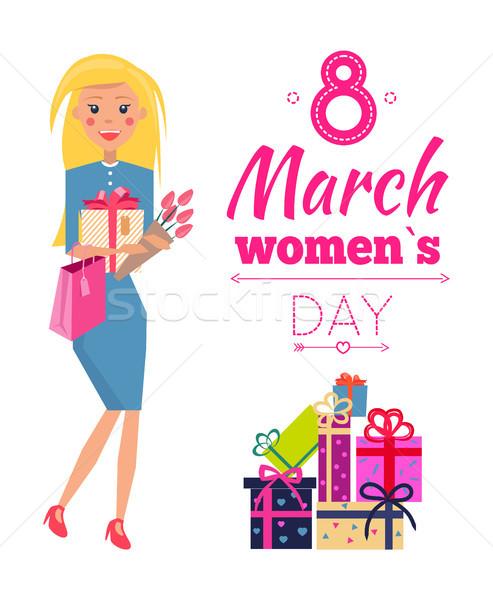 Día de la mujer celebración presenta mujer azul Foto stock © robuart