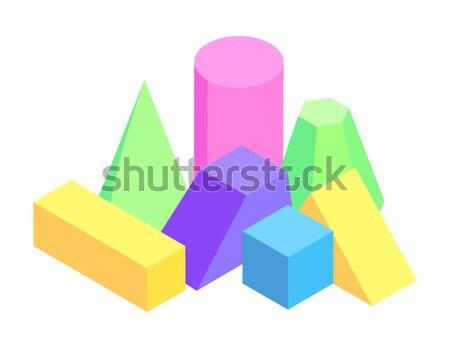 Iki piramit kare vektör poster örnek Stok fotoğraf © robuart